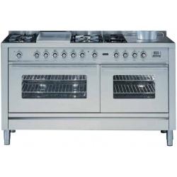 Aragaz ILVE Profesional line P150, 150X60cm, 7 arzatoare, cuptor gaz+electric, timer, aprindere electronica, inox