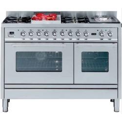 Aragaz ILVE Profesional line PS120, 120X60cm, 6 arzatoare, 2 cuptoare electrice, timer, tepanyaki,aprindere electronica, inox