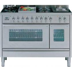 Aragaz ILVE Profesional line PW120, 120X60cm, 7 arzatoare, cuptor gaz+electric, timer, aprindere electronica, inox