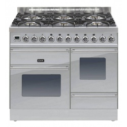 Aragaz ILVE Profesional line PT100, 100X60cm, 6 arzatoare, 3 cuptoare electrice, timer, aprindere electronica, inox