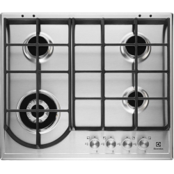 Plita incorporabila Electrolux EGH6343BOX, gaz, 4 arzatoare, 60 cm, Aprindere electrica, gratare fonta, Inox