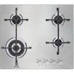 Plita incorporabila Electrolux EGS6648NOX, Gaz, 4 Arzatoare, Aprindere electrica, Adaptor Wok, 60 cm, Inox