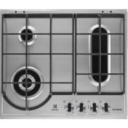 Plita incorporabila Electrolux X-line EGU6648LXX, gaz, 4 arzatoare, 60 cm, Aprindere electrica, gratare fonta, Inox