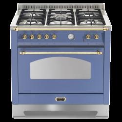 Aragaz Lofra Dolcevita RLVG96MFT/CI, 90x60 cm, gaz, 5 arzatoare, grill, aprindere electronica, timer, albastru