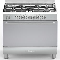 Aragaz Bompani Diva BO683MG/N, 90x60 cm, plita gaz, 5 arzatoare, aprindere electronica, grill, inox